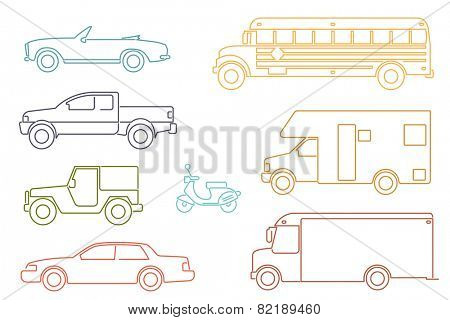 Transportation and Automotive Symbol Vector Set. Set of eight motor vehicle illustrations, modern line icon style.