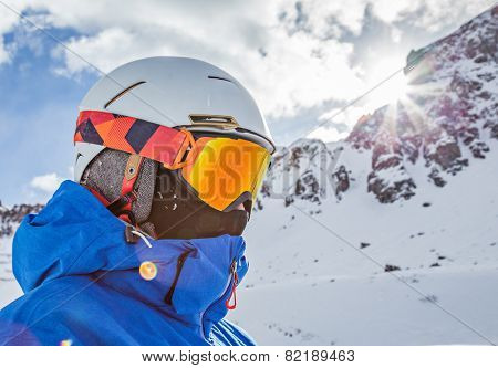 Snowboarder portrait with falling snow