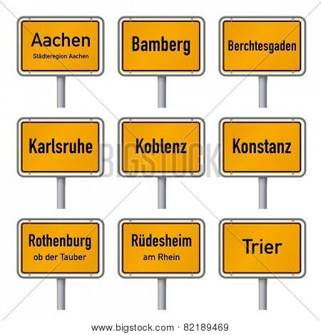 Germany Tourism Highlights City Limits Sign Vector. City limits signs of Germany's most visited historic cities vector illustration isolated on white background set, part 1