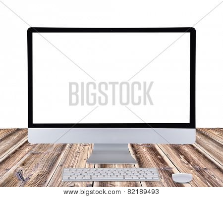 Computer display isolated on white background.