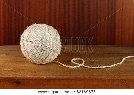 Ball of rough rustic yarn