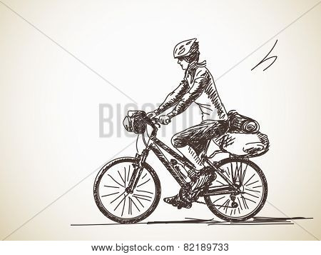 Sketch of Woman travel on bicycle Hand drawn vector illustration