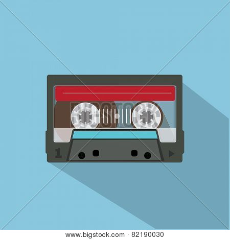 Audio tape. Flat design vector illustustration on blue background.