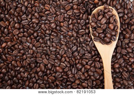 Roasted Coffee Beans With Wooden Spoon