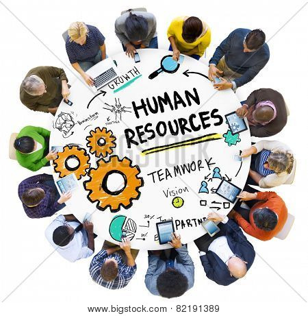 Human Resources Employment Job Teamwork People Technology Concept