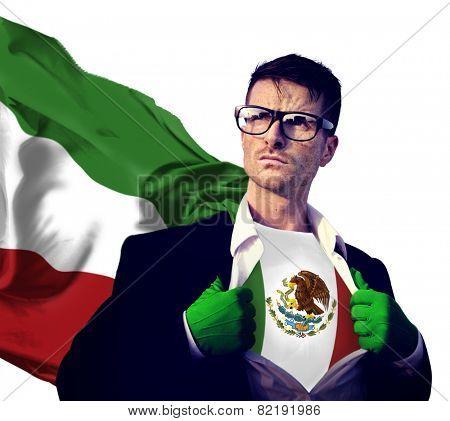 Businessman Superhero Country Mexico Flag Culture Power Concept