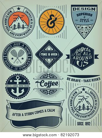 Vector. Vintage Insignias / logotypes set. Vector design elements, logos, identity, objects, labels,and badges.