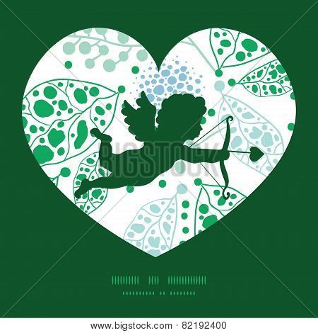 Vector abstract blue and green leaves shooting cupid silhouette frame pattern invitation greeting ca
