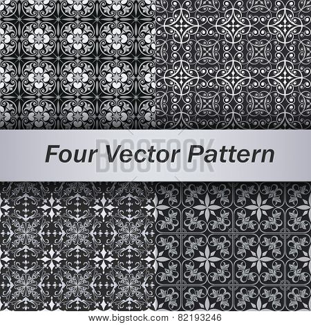 Set of 4 seamless grey floral vector patterns.