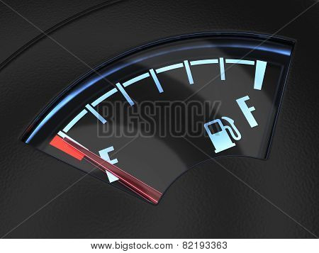 Gas Gage With The Needle Indicating An Empty Tank. Crisis No Fuel Concept