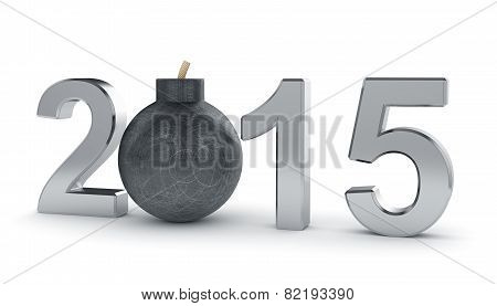 2015 Year Sign With Round Bomb Isolated On White Background. Danger Concept