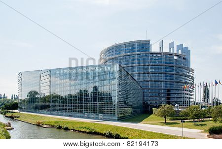 Large Facade Of The European Parliament In Strasbourg