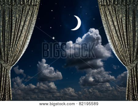 fabric curtains on a nigt sky background