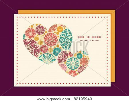 Vector abstract decorative circles heart symbol frame pattern invitation greeting card template