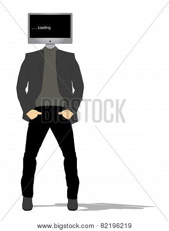 man with the head of a computer