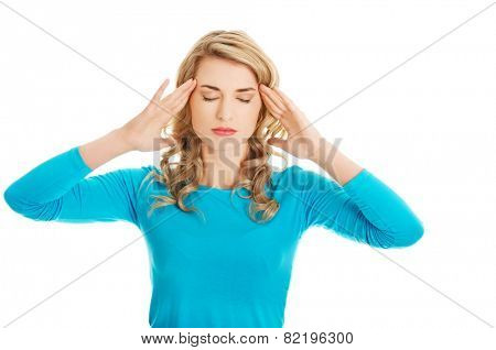 Worried woman have big problem