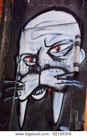 Street art Montreal walrus mask