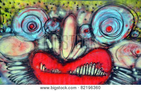 Street art Montreal clown face