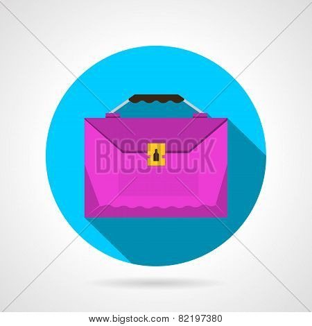 Round flat vector icon for pink briefcase