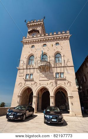 Front Of The Government Palace In The Republic Of San Marino