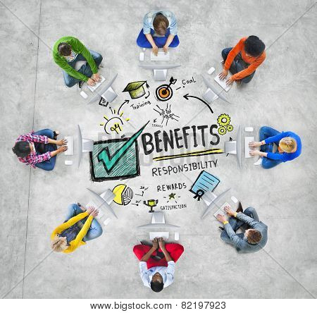 Benefits Gain Profit Earning Income Computer Technology Concept