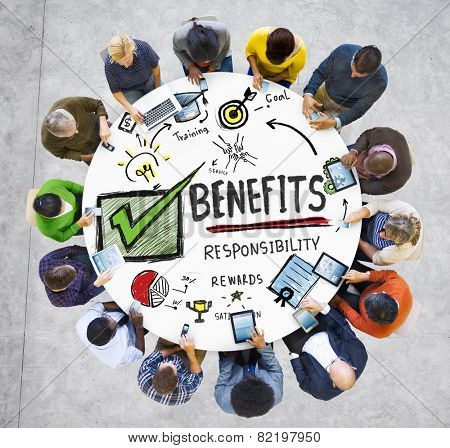 Benefits Gain Profit Earning Income People Technology Concept