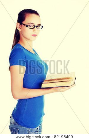 Young caucasian woman student with book.