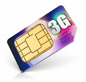 picture of micro-sim  - Color SIM card for mobile phone or smartphone with 3G connection capability isolated on white background - JPG