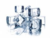 stock photo of glass water  - Ice cubes in white background - JPG