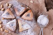 image of purim  - Traditional jewish Hamantaschen cookies for Purim with sugar powder on brown paper - JPG