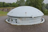 foto of top-gun  - Steel armoured twin 75mm gun turret on top of French First World War Fort Froideterre near Verdun - JPG