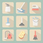 image of vacuum pump  - Cleaning icons flat design with sponge plunger  bucket vacuum cleaner and spray - JPG
