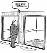 image of elevators  - Cartoon of businessman in front of two elevators - JPG