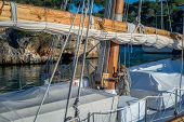 image of mast  - Retro sailing boat mast and deck details - JPG
