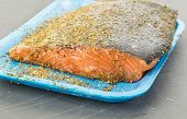 pic of slab  - Large slab of fresh salmon being prepared for grill with herbs and spice seasoning - JPG