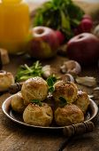 picture of sesame seed  - Cheese mini buns from home dough sprinkled with sesame seeds poppy and caraway seeds orange juice fresh apple and herbs on top - JPG