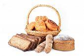 pic of braids  - fresh baked bread in braided basket on white - JPG