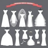 image of composition  - The composition of wedding bridal dresses  - JPG