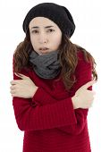 stock photo of shivering  - Adult caucasian woman sick and shivering because of flu - JPG
