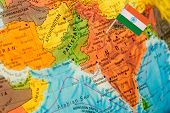 picture of flag pole  - map with miniature flag of India - JPG