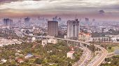 picture of petronas twin towers  - The construction of modern city in Bangkok Thailand. ** Note: Soft Focus at 100%, best at smaller sizes - JPG