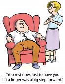 picture of sarcasm  - Cartoon of woman with lazy husband - JPG