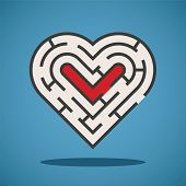 stock photo of maze  - Vector heart shape maze concept in flat style - JPG
