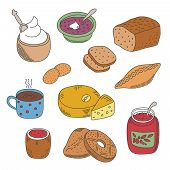 picture of patty-cake  - Set of vector pied doodle food icons like soup jam coffee cheese pie patty and ice ream in flat style - JPG