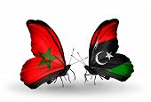 stock photo of libya  - Two butterflies with flags on wings as symbol of relations Morocco and Libya - JPG