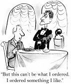 picture of gag  - Cartoon of man saying to waiter - JPG