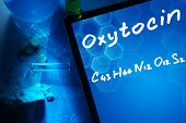 stock photo of formulas  - Tablet with the chemical formula of Oxytocin - JPG