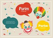 picture of clown face  - Card for Jewish holiday  Purim with clown and speech bubbles - JPG