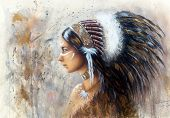 stock photo of indian  - beautiful airbrush painting of a young indian woman wearing a big feather headdress a profile portrait on structured abstract background - JPG