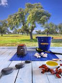 stock photo of sauna  - Wooden table in the sauna area with oils and hot stones - JPG
